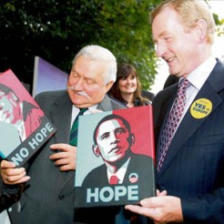 Enda Kenny Holds Painting