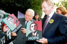 Enda Kenny & Lech Walesa hold my paintings at Stephen's Green art exhibition in Dublin.